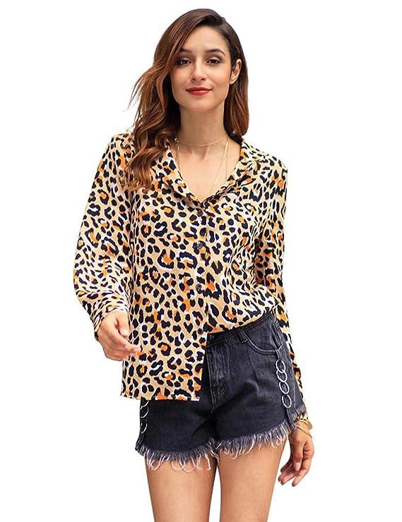 KINJOHI Camisa de Verano con Estampado de Leopardo y Manga Larga para Mujer