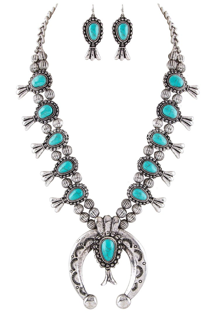 Jayde N' Grey Navajo Southwestern Squash Blossom Turquoise Necklace (Turquoise Large Size)
