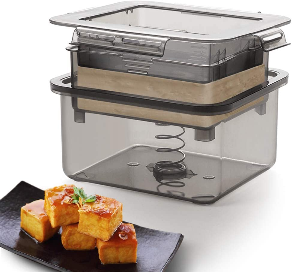 Tofu Press, Tofu Press Maker Kitchen Gadget with Powerful Spring, Water Collecting Tray, Middle Strainer & Top Lid, Tofu Presser Easy to Remove Water from Tofu & Other Food, for Better Texture (Gray)