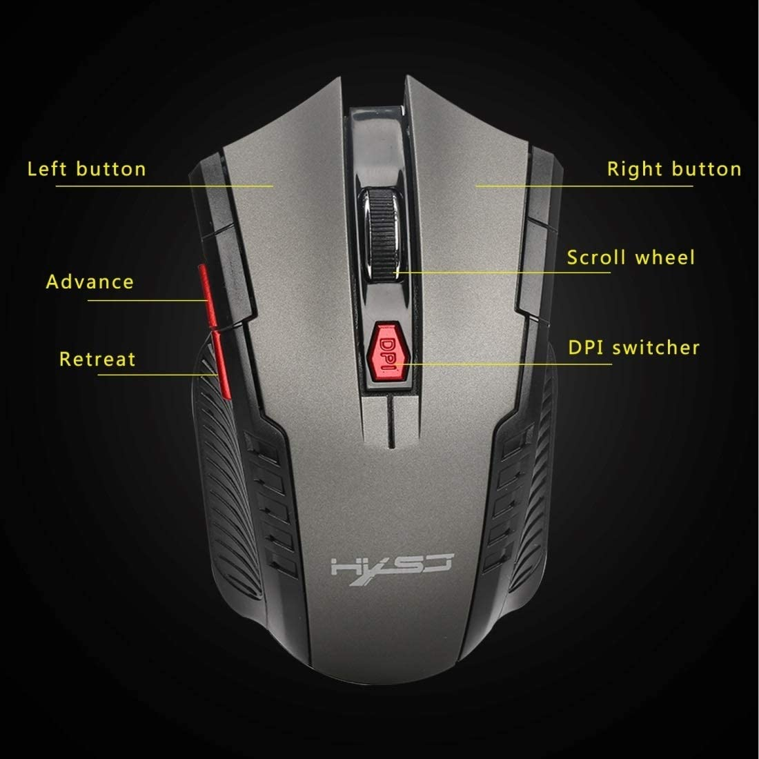 X20 2.4GHz 6-Keys Wireless Mouse with USB Receiver Durable Color : Grey