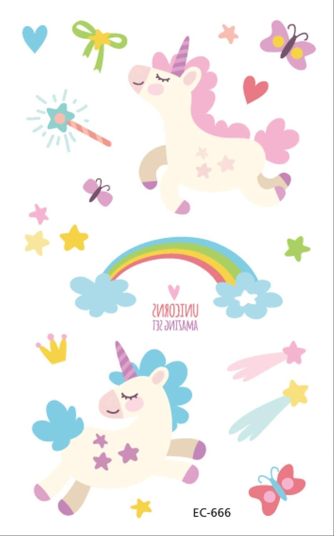 ZPF Tatuaje Tatuaje de unicornio de dibujos animados para niños ...