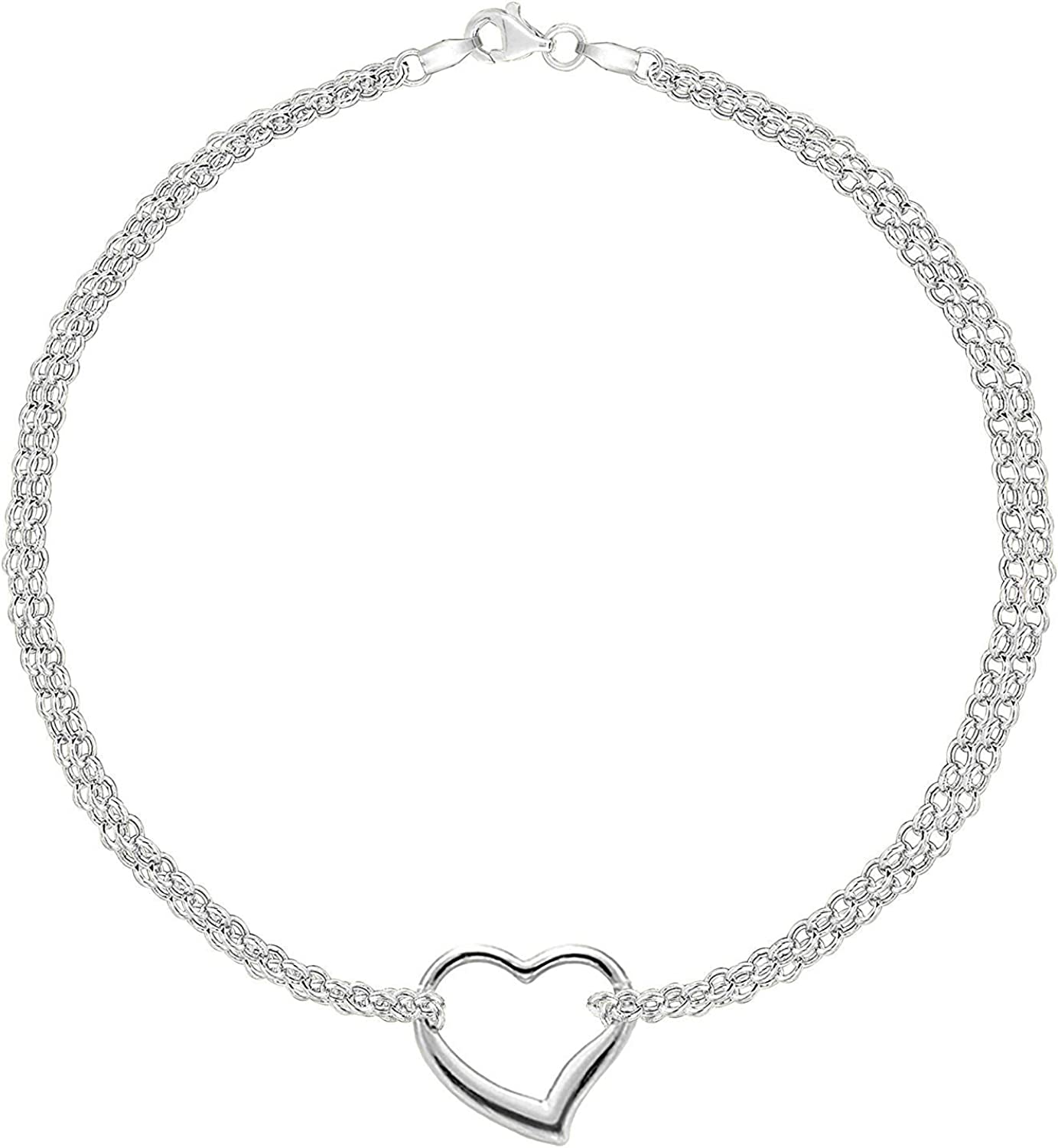 Genuine 14k White Gold Rope with Heart Anklet 10 inches