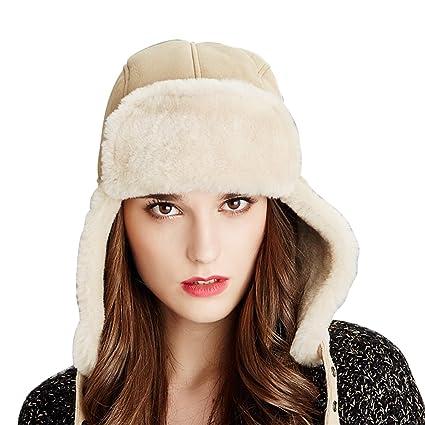 Amazon.com   Kenmont Winter Women 100% Sheep Shearing Ski Trapper ... 54a23f6879fa