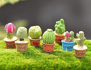 Trasfit 7 Pieces Miniature Fairy Garden Ornaments Kit, Fairy Garden Cactus & Flower Pot for Dollhouse Plant Pot, Home Decoration (Set of 7 Cactus & Flower Pot)