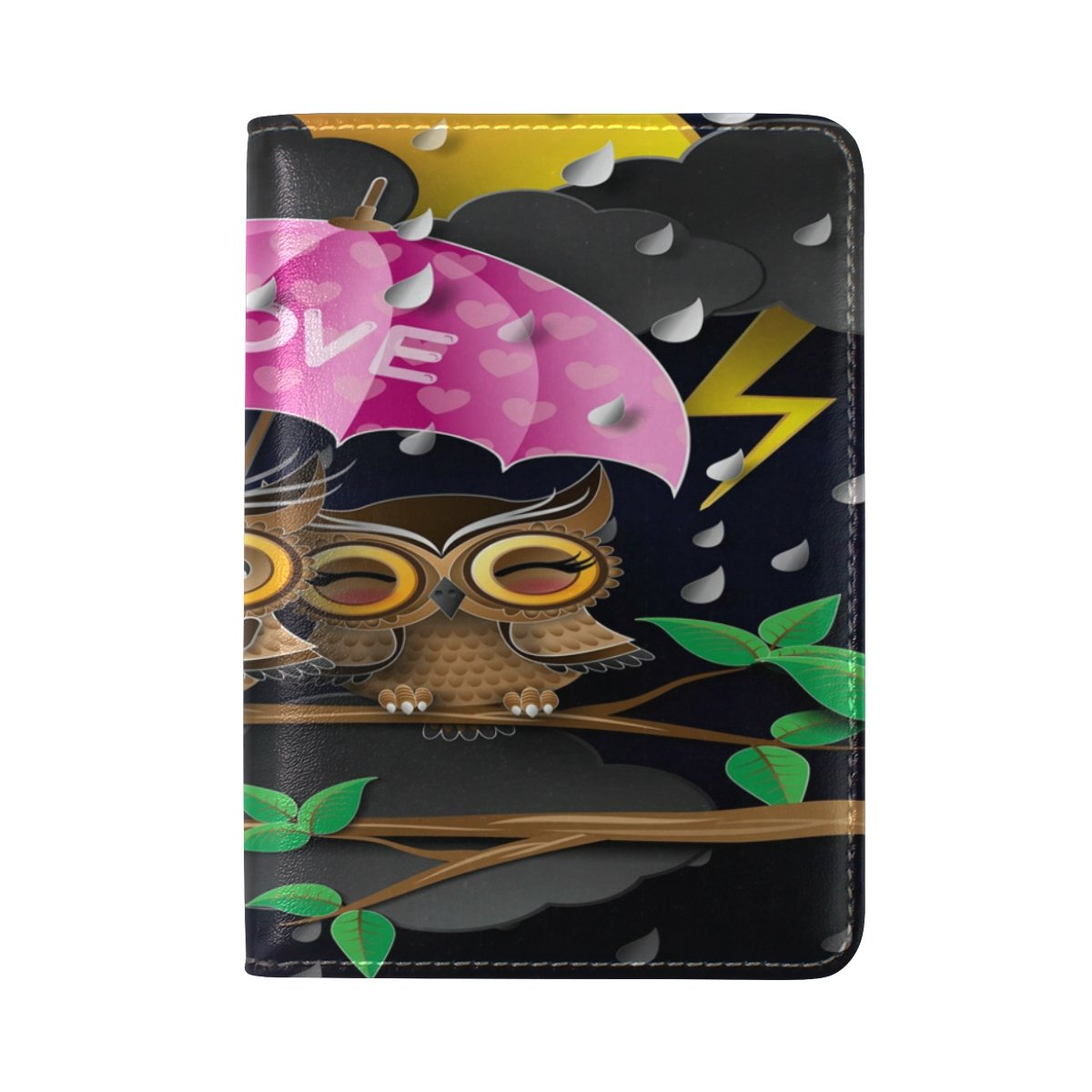 ALAZA Hipster Owl Valentines Day Leather Passport Holder Cover Case Travel One Pocket