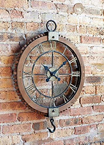 Melrose 21.75 Large Open Extravagant Vintage Wall Clock with Roman Numerals and Hook