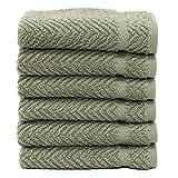 Linum Home Textiles Herringbone 100% Turkish Cotton Washcloths (Set of 6)