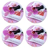 MSD Round Coasters Non-Slip Natural Rubber Desk Coasters design: 35235688 Orchid flowers spa stones sea salt on towel on color wooden background