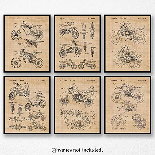 Original Honda-Yamaha-Kawasaki-KTM Motocross Dirt Bikes Art Poster Prints- Set of 6 (Six 8x10) Unframed Photos- Great Wall Art Decor Gifts Under $20 for Home, Office, Garage, Man Cave, Shop, Teacher