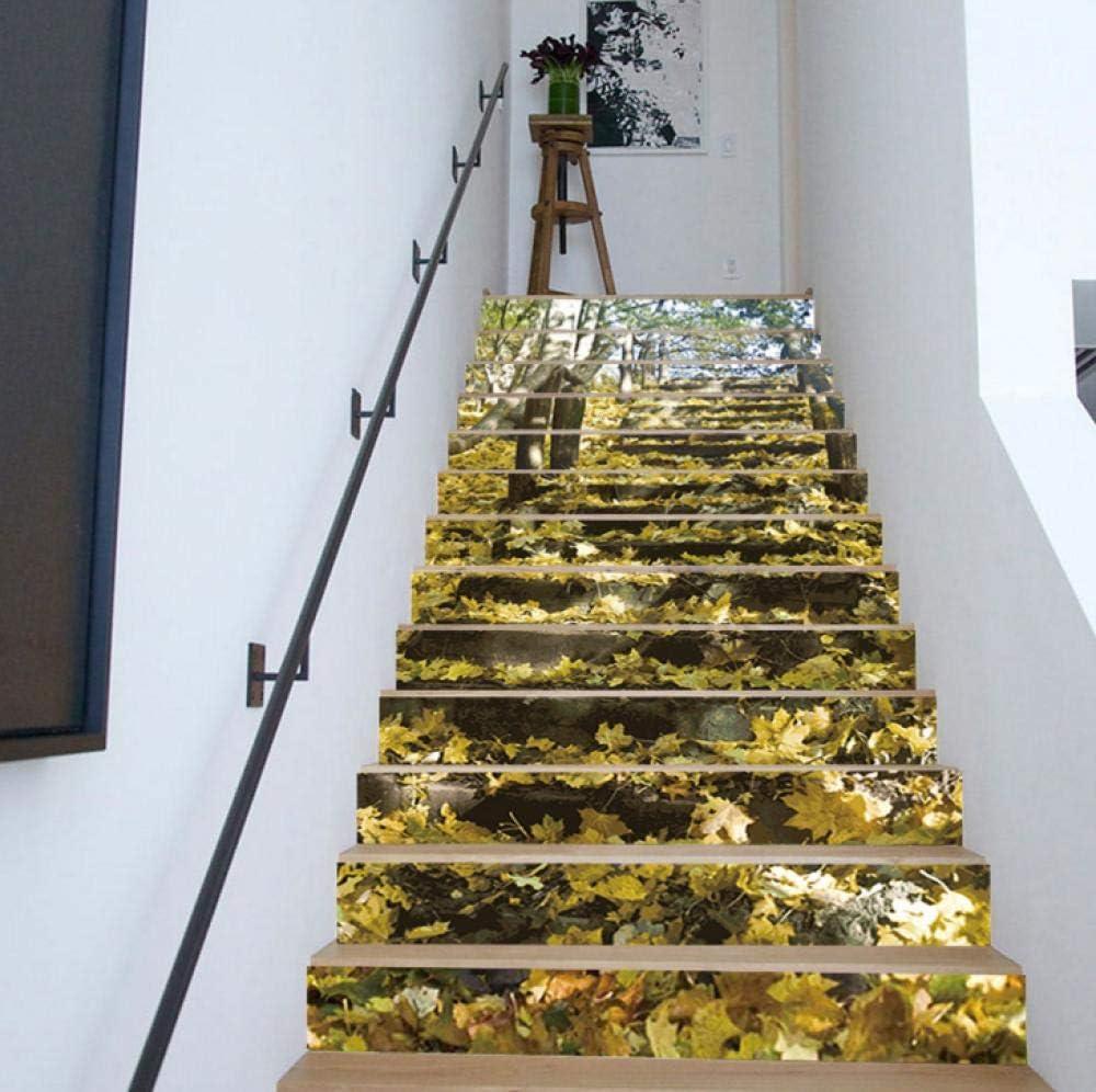 Pegatinas para Escaleras 3D Hoja De Arce Escalera Calcomanía PVC Autoadhesivos Impermeable Fotomurales Extraíble Etiqueta de Pared para Cuartos Dormitorio Cocina Decoración, 18cmx100cmx13pcs: Amazon.es: Bricolaje y herramientas
