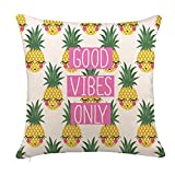 #7: 4TH Emotion Good Vibes Only Pineapples Throw Pillow Cover Summer Beach Decor Cushion Case Decorative for Sofa Couch 18