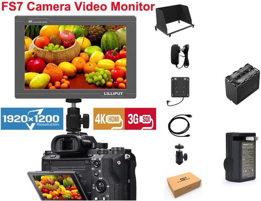 "LILLIPUT 7/"" FS7 1920x1200 IPS 3G-SDI 4K HDMI Camera Top Monitor SONY F970 plate"