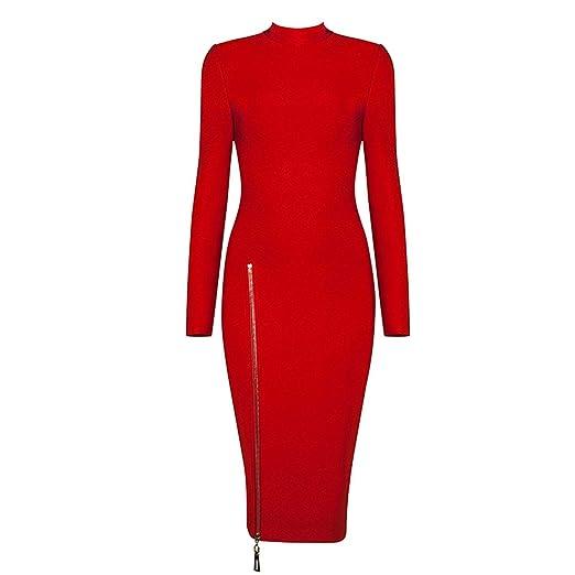d72fd7b73a3ad Turtleneck Long Sleeve Zipper Winter Dress Celebrity Party Dresses ...