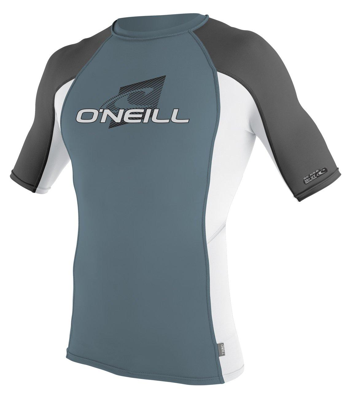 O'Neill Men's Premium Skins UPF 50+ Short Sleeve Rash Guard, Black/Lime/Blue, Small by O'Neill Wetsuits