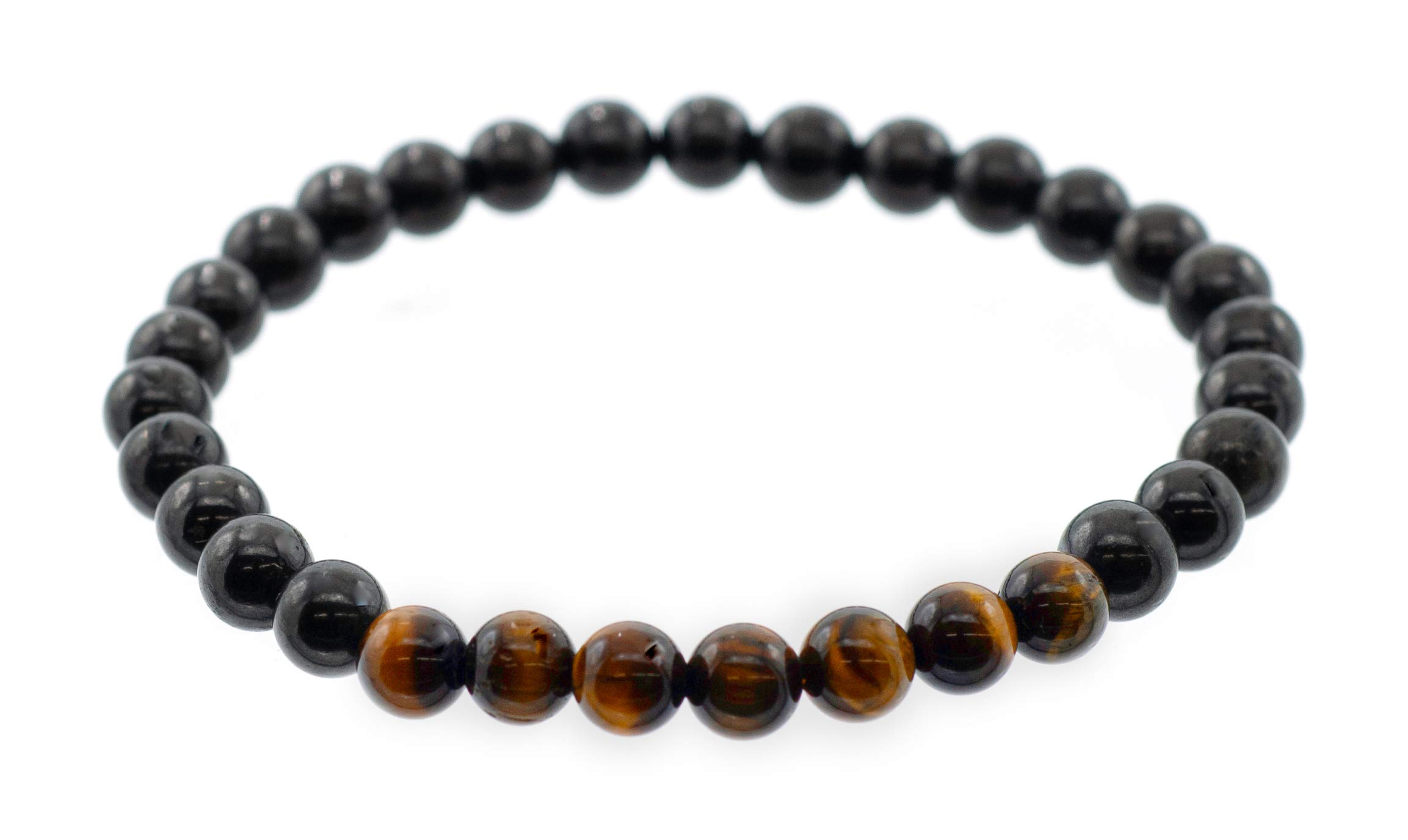 """6 mm Shungite Stretch Bracelet with Tiger's Eye beads Accents, 7.5"""""""