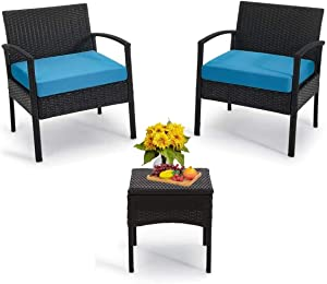 PCAFRS 3-Piece Patio Bistro Outdoor Conversation Sets, 1 Conversation Table & 2 pcs Rattan Sofas with Backrest, Soft Outdoor Garden Furniture Sets, Blue Cushion