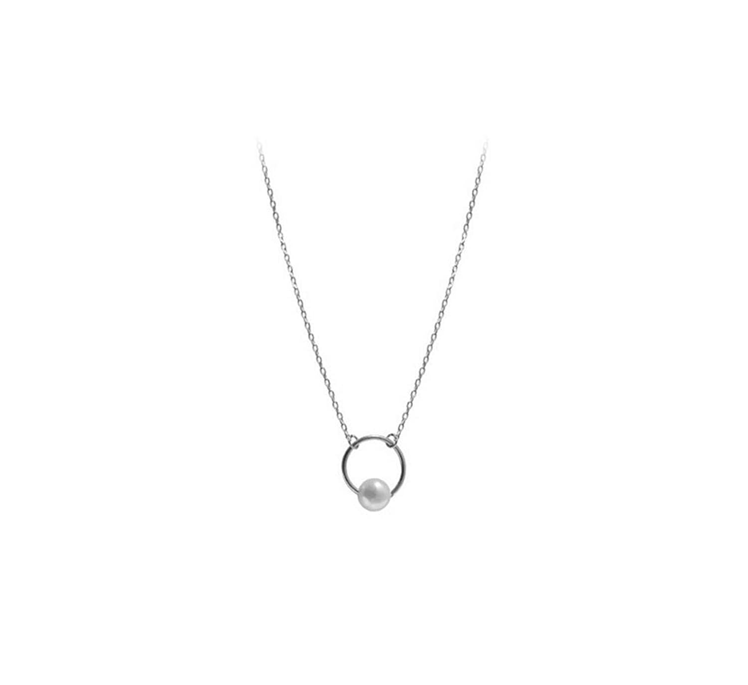 Chibi-Store 925 Sterling Silver Simple Circle Geometric Design Pearl Necklace GN571