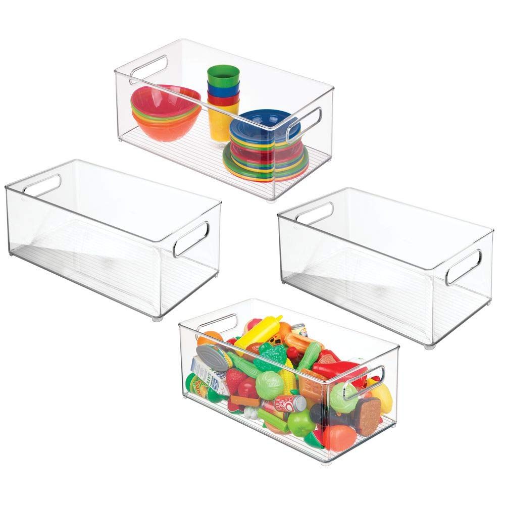 mDesign Plastic Toy Box Storage Organizer Bin with Handles for Kids Closets, Cabinets, Shelves - Hold Action Figures, Crayons, Markers, Building Blocks, Puzzles - 14.5'' Long, 4 Pack - Clear by mDesign