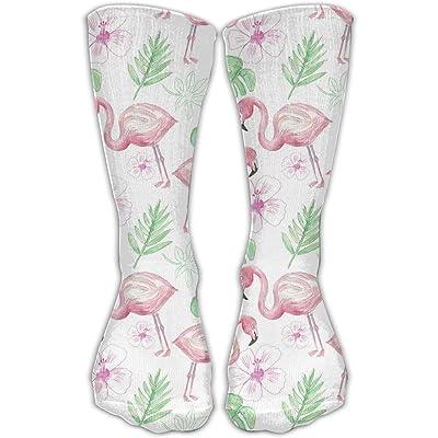 YUANSHAN Socks Pink Flamingo And Green Palm Pattern Women & Men Socks Soccer Sock Sport Tube Stockings Length 11.8Inch