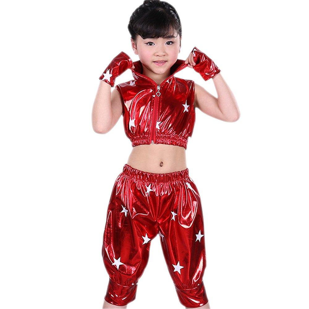 e3c6dfbf8897 Amazon.com: KINDOYO Kids Girls Boys Stars Jazz Dance Costumes Stage  Performance Hip-Hop Dance Wear Outfits: Clothing