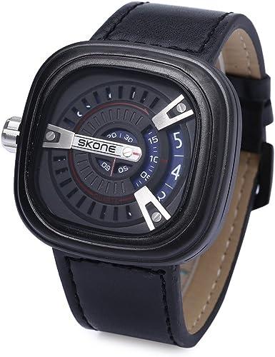 Skone maxi Reloj hombre retro vintage cuadrado movimiento de cuarzo japonés correa de piel sintética PU envío desde España: Amazon.es: Relojes