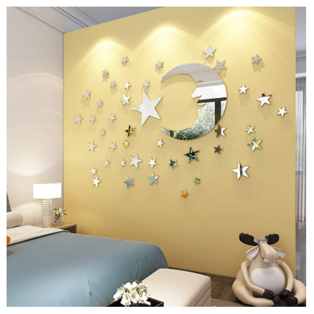 ATFUNSHOP Mirror Wall Stickers Moon and Star Home Decoration for Kids Living Room Silver Reflection UK-SM-66-MR