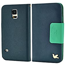 Samsung Galaxy s5 Case, HiLDA(TM), Samsung Galaxy s5 Wallet Case,Samsung Galaxy s5 Leather Case, Credit Card Holder, PU Flip Cover [Blue]