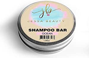Shampoo Beauty Bar - 3 in 1 Organic Coconut Oil Shampoo, Condition, Treatment - Travel hair care (Ocean Blue) - by Jessa Beauty