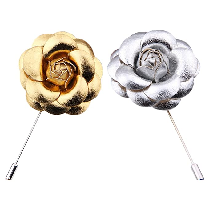 2pcs PU Camellia Flower Lapel Pin Boutonniere Stick Gold Silver Floral Hat  Pin For Wedding Party Suit