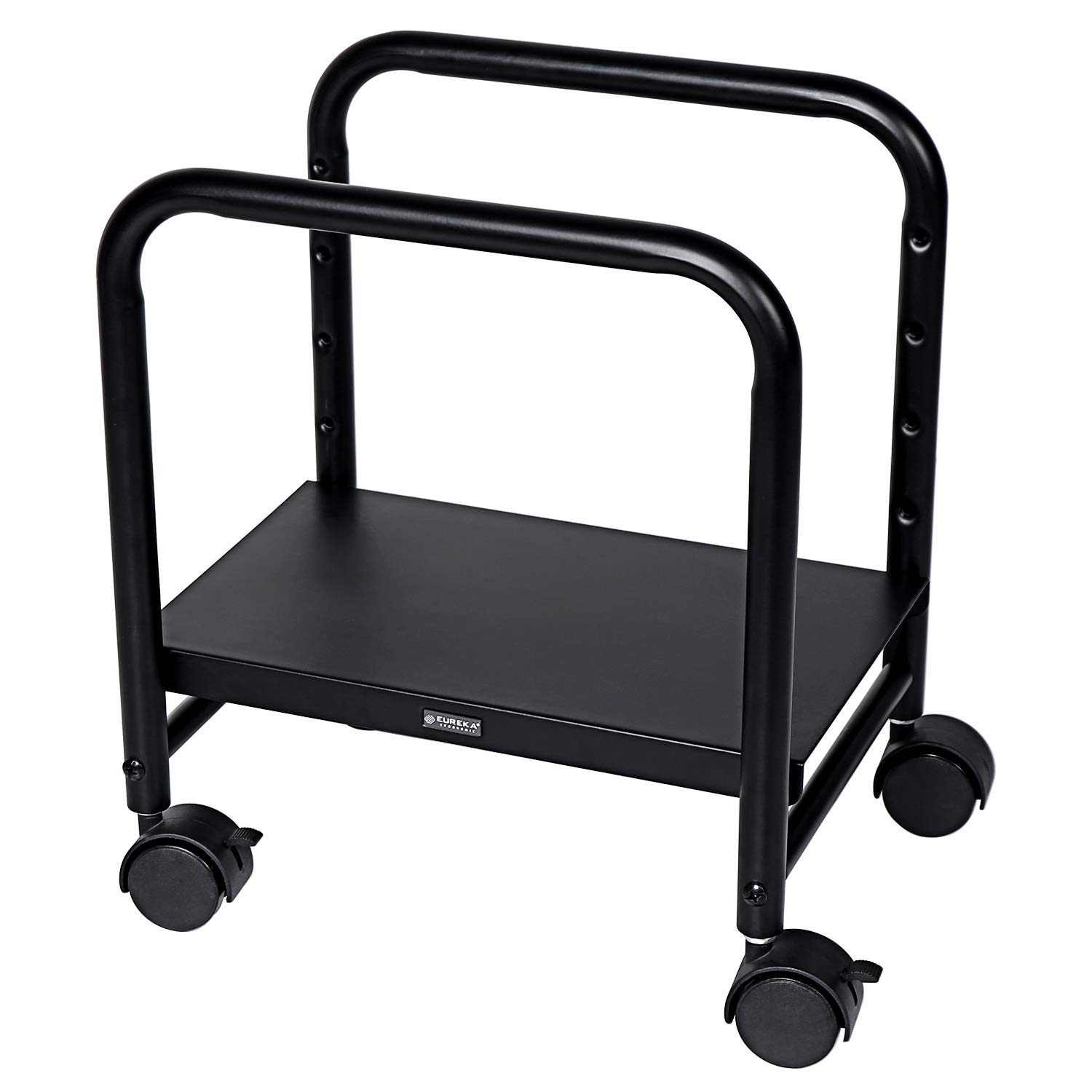 EUREKA ERGONOMIC Computer Cart Height Adjustable Mobile Cart CPU Stand Steel Rolling Stand Cart Holder Locking Wheels for Home Desk Office Desk Black by Eureka Ergonomic