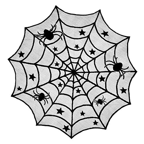 Happy House Halloween Decoration Table Doliy, Lace Spider Web Black Table Cloth Round 40 Inch for Scary Movie Nights (Black 1pc)