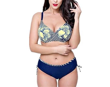 7c352da4562e7 Amazon.com: Women's Plus Size Pleated Push up Two-Piece Swimsuit Swimwear  Bikini Set: Clothing