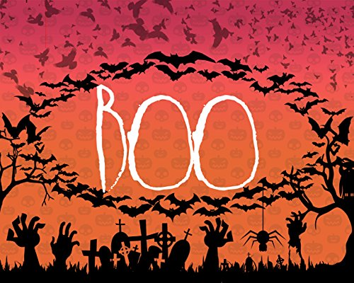 Boo Print Bats Flying Picture Graveyard Spider Owl Tree Hands Sunset Pumpkin Background Halloween Decoration Wall Hanging Seasonal Poster (Pumpkin Background)