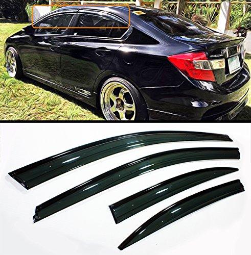 Cuztom Tuning Smoked Tinted Black Trim Clip ON Type Window Visor RAIN Guard Deflector for 2012-2015 Honda Civic 4 Door ()