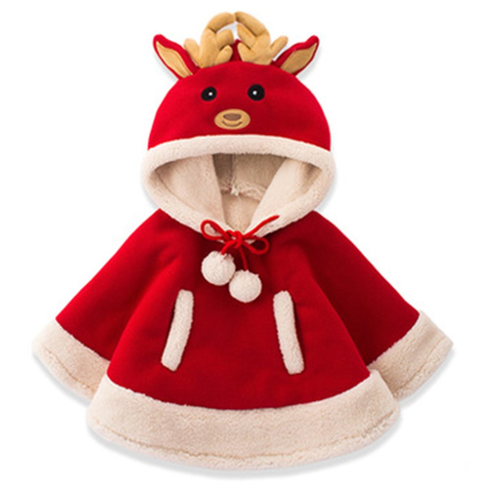Tueenhuge Baby Girls Cloak Winter Hooded Reindeer Jacket Christmas Coats