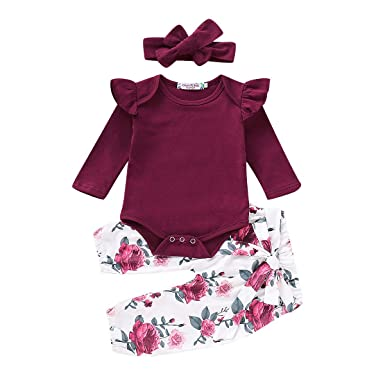 673271ba75a6 Newborn Baby Girls Outfit Ruffle Shirts Romper Bodysuit+Floral Halen Pants + Headband 3Pcs Clothes