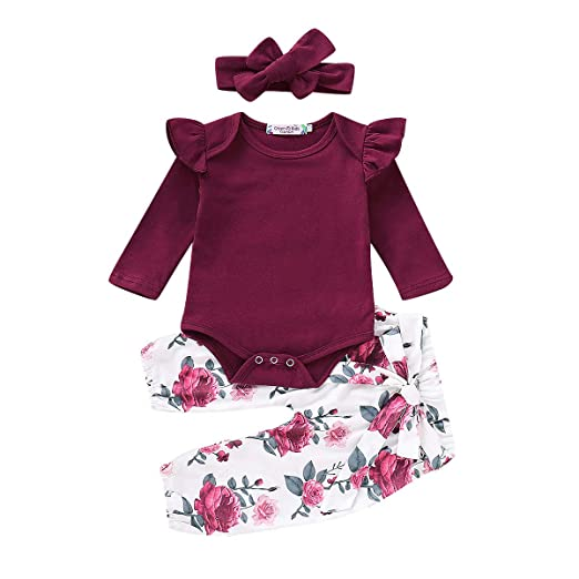 b4f77e4af8f0 Amazon.com  KIDSA Spring Fall Outfits for 0-24M Baby Toddler Girl Long  Sleeve Ruffles Romper + Floral Pants + Headband Clothes Sets  Clothing