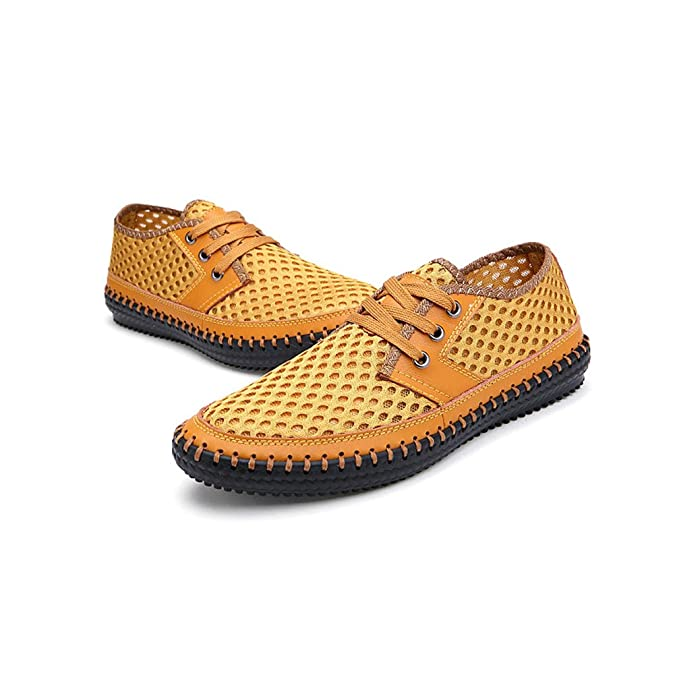 YiLianDa Zapatos Casuales Verano Transpirable Slip-on de Hombres Amarillo 41 UZkqBPjD