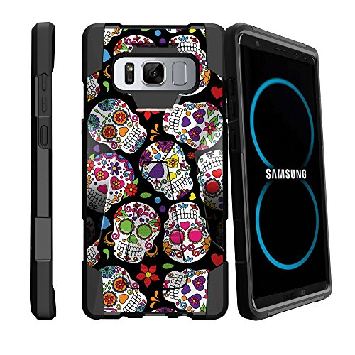 MINITURTLE Case Compatible w/ Galaxy Note 8 [SHOCK FUSION SERIES] Durable Impact Slim DualLayered Galaxy Note 8 Phone Case w/ LowProfile BuiltStand Girly Sugar (Skull Hard Case)