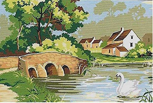 - SWAN AT THE STONE BRIDGE NEEDLEPOINT CANVAS #928.314 FROM SEG, CANVAS ONLY