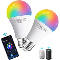 Aigostar Smart WiFi Bulb A60 E27 Screw,WiFi Smart Switch,Works with Alexa and Google Home,Colour-Changeable,9W LED Light…