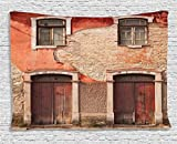 Cheap Ambesonne Rustic Decor Collection, Abandoned Facade With Wood Windows And Doors In Portugal Damaged Rust, Bedroom Living Room Dorm Wall Hanging Tapestry, 60W X 40L Inch