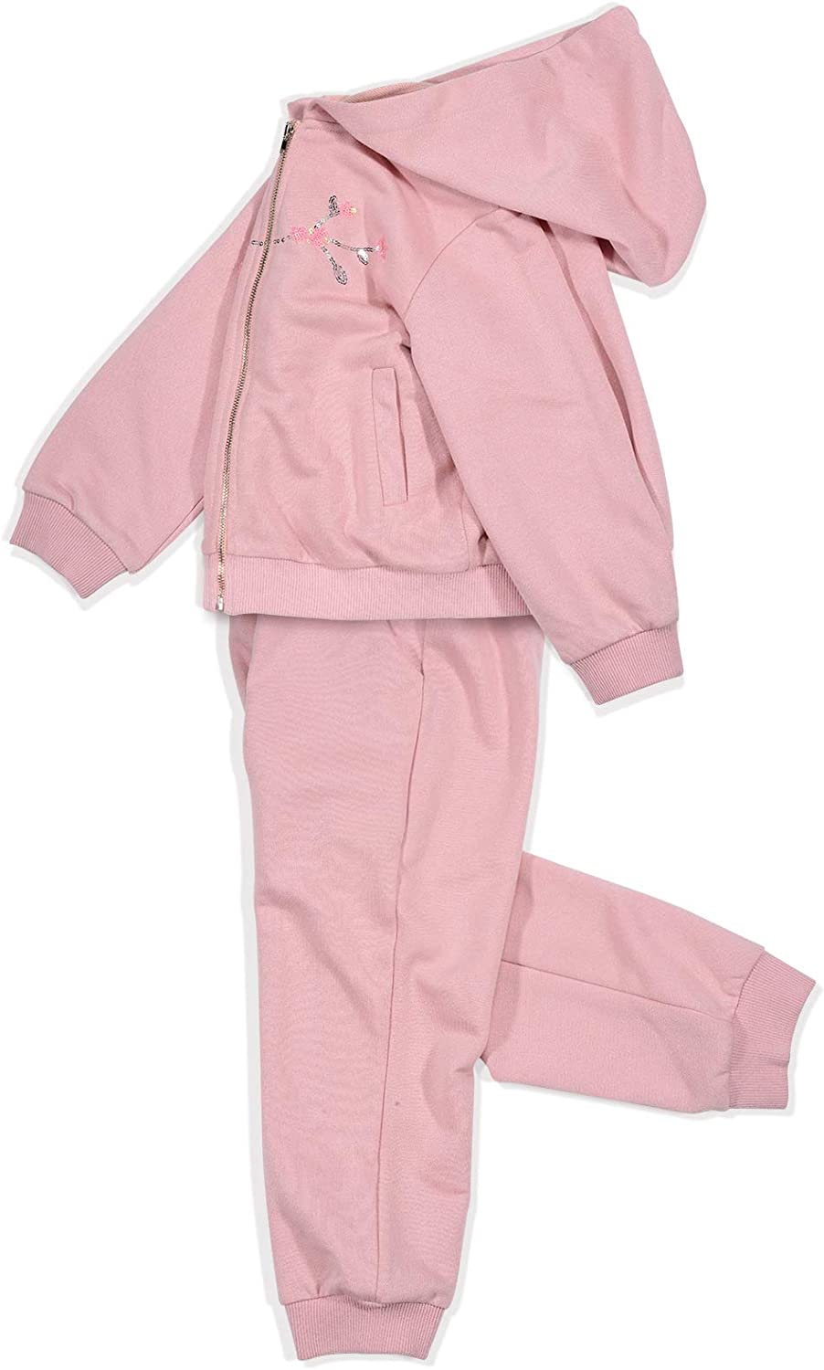 Girls Pants Sets, Crop Top Hoodie, Athletic Sweatsuit, Pink Sequins Embroidery: Clothing