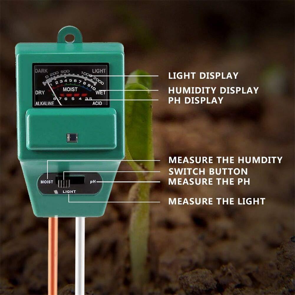 ZYBC 3-in-1-Bodentester Ph-Meter Hygrometer Zur Messung Von Boden-Illuminanz-Tester Garten-Detektor