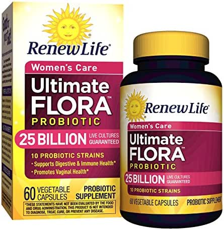 Renew Life #1 Women's Probiotic - Ultimate Flora Probiotic Women's Care, Shelf Stable Probiotic Supplement - 25 Billion - 60 Vegetable Capsules (Packaging May Vary)