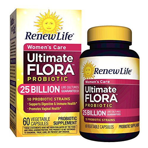 Renew Life Women's Probiotic - Ultimate Flora Probiotic Women's Care, Shelf Stable Probiotic Supplement - 25 Billion - 60 Vegetable Capsules (Packaging May Vary) ()
