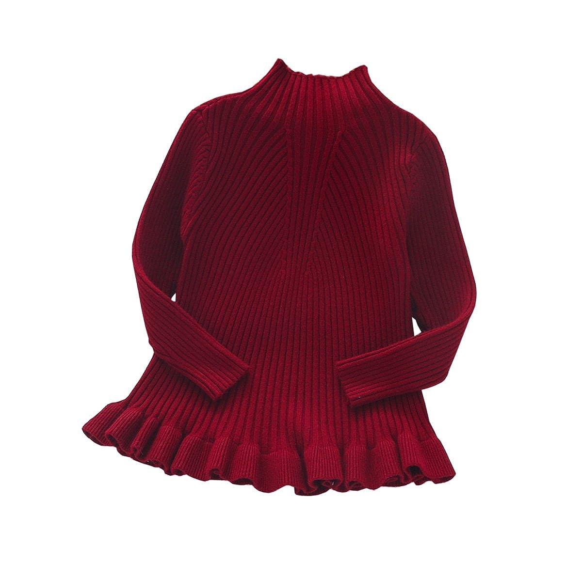 Baby Little Girls Ruffle Knit Sweater Kids High Neck Winter Sweatshirt Baseshirt Pullover