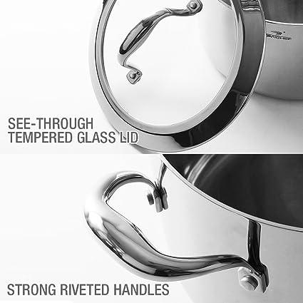 Homi Chef espejo libre de níquel pulido acero inoxidable 6 Qt olla con tapa de cristal (no tóxico) - Batería de cocina (revestimiento antiadherente, ...