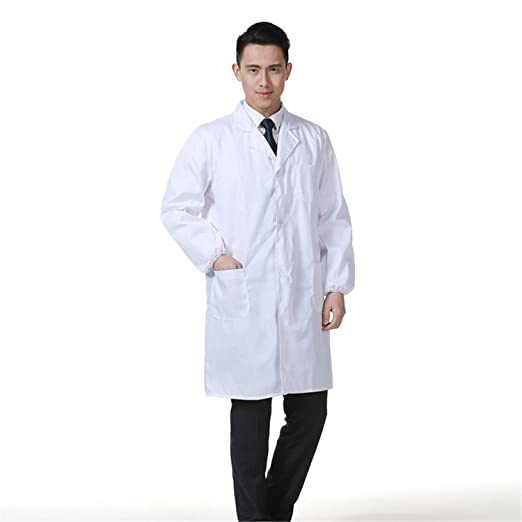 Laborkittel Herren Kittel Medizin Arztkittel weiß mit Knöpfe ...