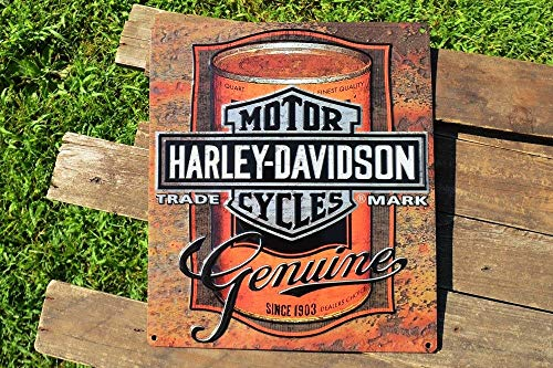 Harley Davidson Retro Motor Oil - ShopForAllYou Vintage Decor Signs Harley Davidson Genuine Motor Oil Can Embossed Tin Metal Sign - Bar and Shield